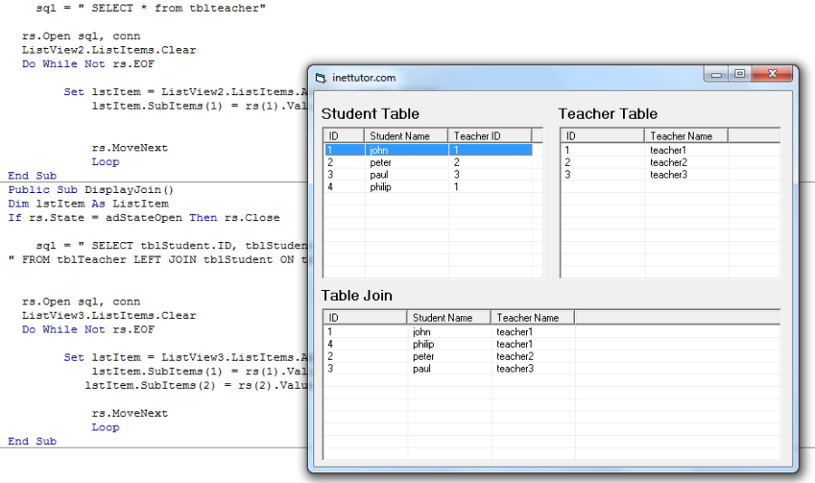 Table Join in Visual Basic 6 and MS Access – iNetTutor com