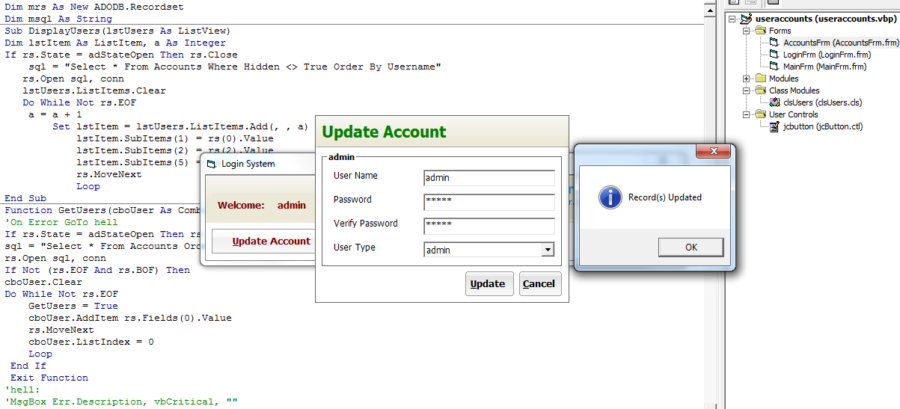 Login system with own account updates in Visual Basic 6